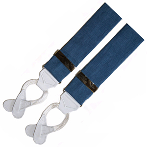 Albert Thurston Duck Blue Linen Braces: US$149.95.
