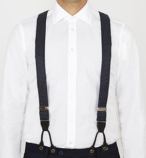 Turnbull & Asser Navy & White Spot Adjustable Silk Braces: €115.
