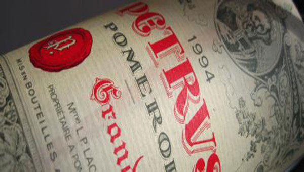 Pétrus Pomerol red wine. Widely regarded as an outstanding wine.