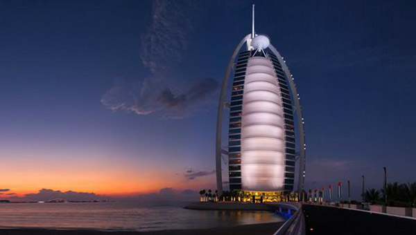 Burj Al Arab, Dubai. The world's most luxurious and only 7-star hotel.